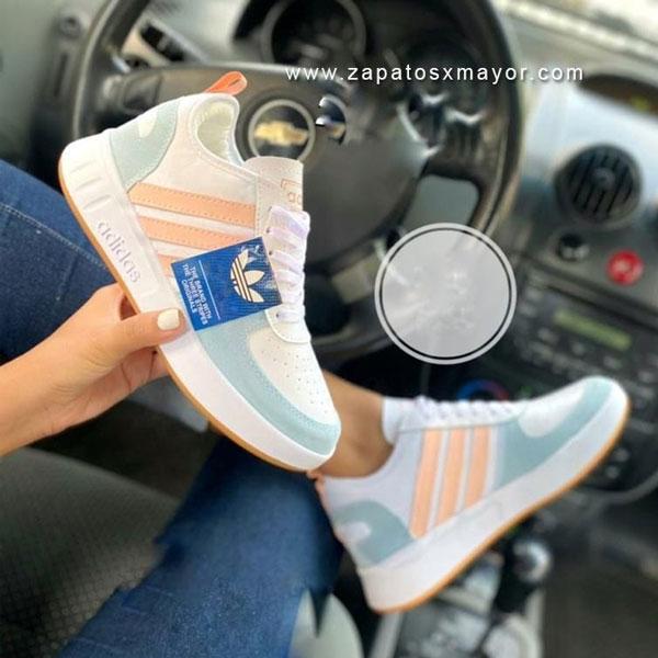 tenis mujer blanco azul naranja 2021 zapatillas