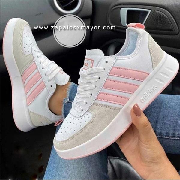 tenis mujer blanco con rosado 2021 zapatillas