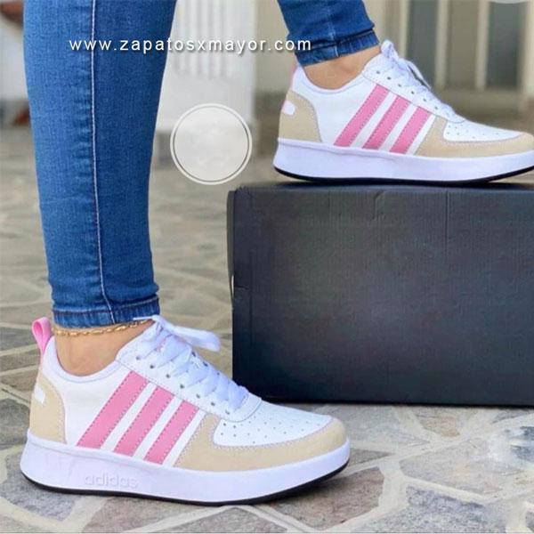tenis mujer blanco fucsia zapatillas