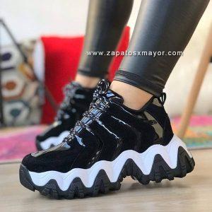 Zapatillas Chunky Negras tenis moda mujer