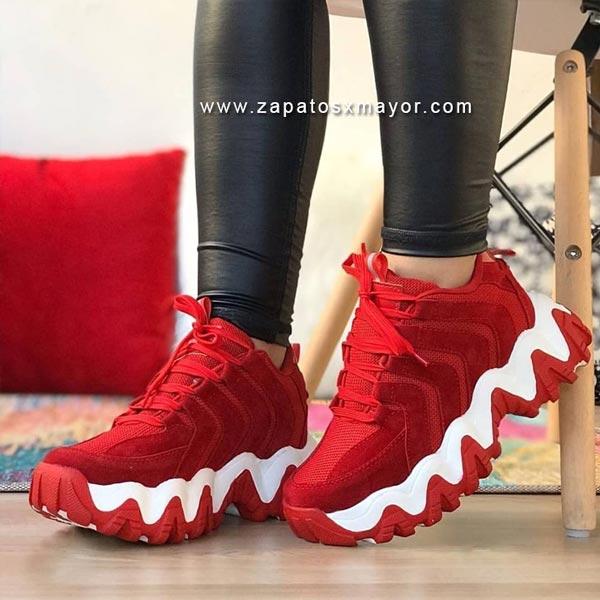 Zapatillas Chunky rojas tenis moda mujer