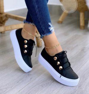 Zapatos Negros Modelo Casual Para Mujer 2021