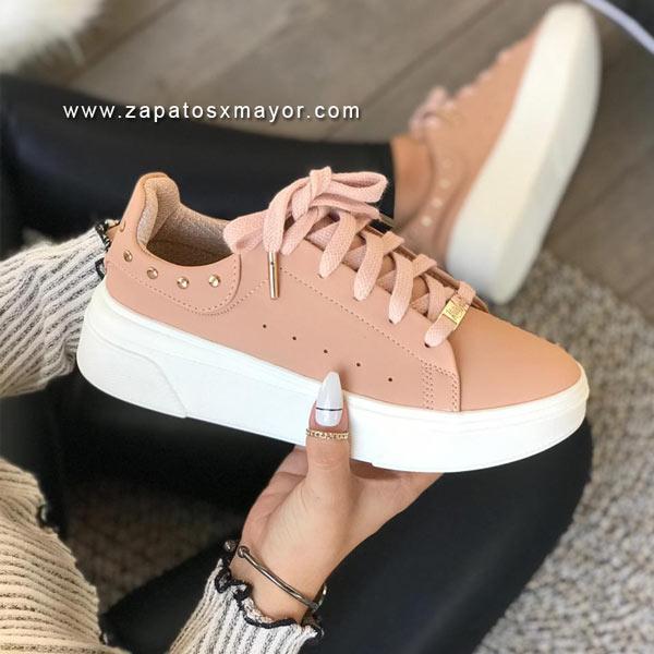 tenis casual mujer rosa 2021 nuevo zapato colombiano