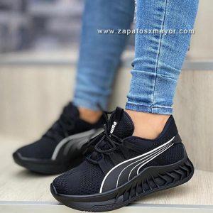 tenis casuales mujer moda zapatillas negras dama