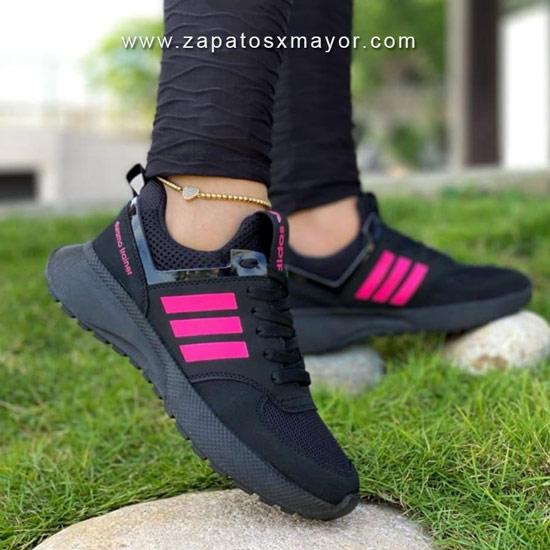 tenis mujer negros con fucsia zapatillas deportivas 2022