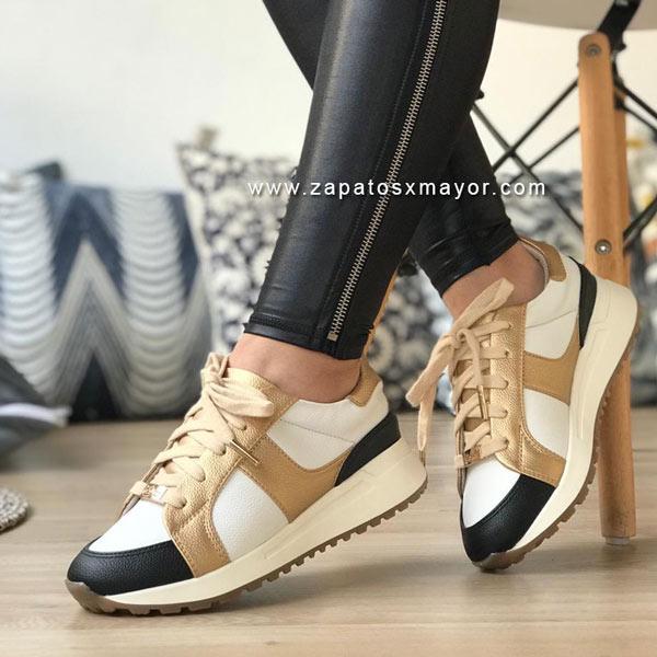 zapatos casuales mujer moda blanco dorado
