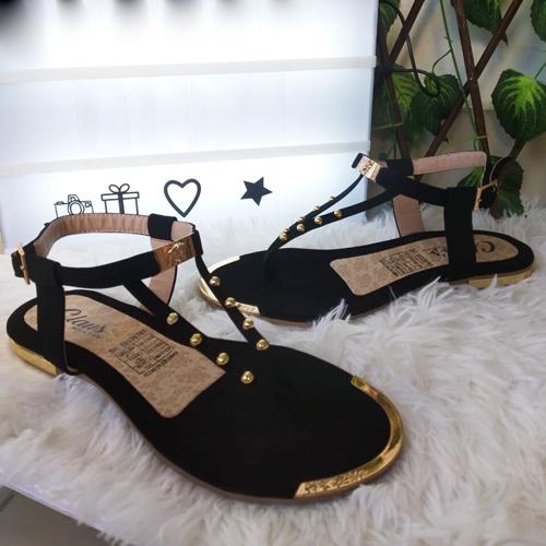 Sandalia plana color negro sandalias para mujer