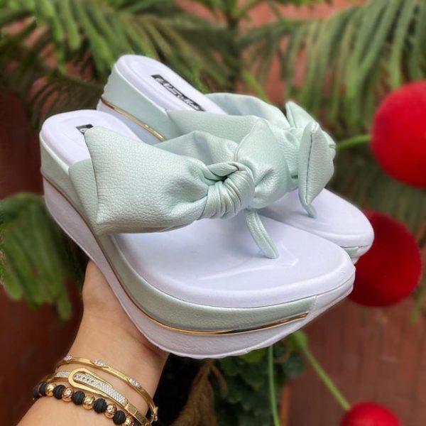 Sandalias altas para mujer Nuevo modelo 2021 Sandalia Plataforma Color Turquesa