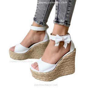 Sandalia Plataforma Yute Blancas para Dama