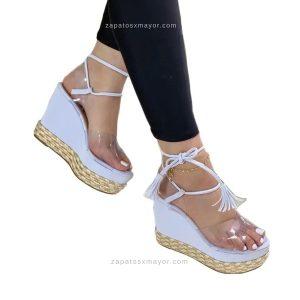 Sandalia plataforma blanca mujer