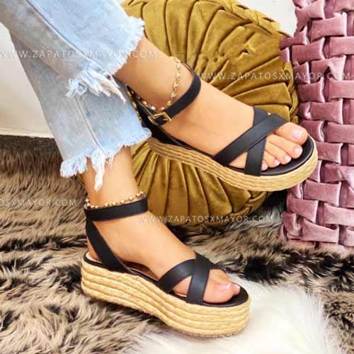 sandalia altas plataforma yute negras para mujer