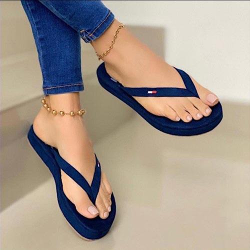 sandalia bajita azul para mujer
