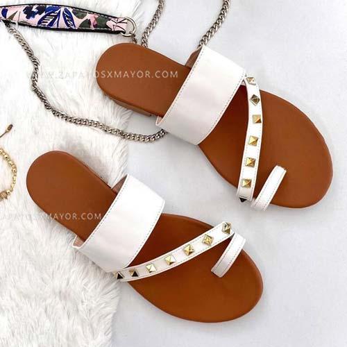 sandalia moda mujer blancas