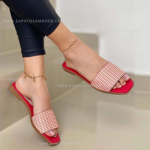 sandalia plana elegante roja