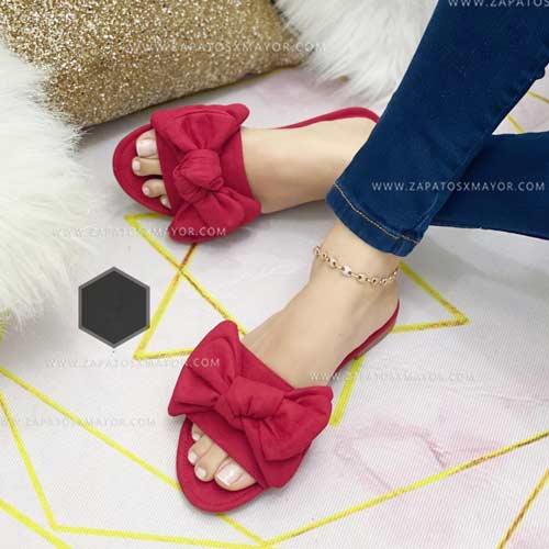 sandalia plana roja para dama 2022