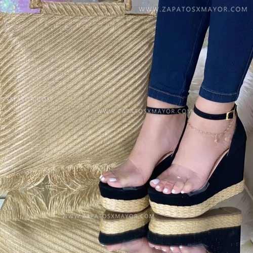 sandalia plataforma yute negra sandalias altas mujer