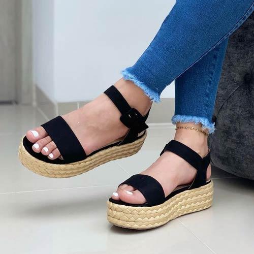 sandalia yute plataforma negra moda