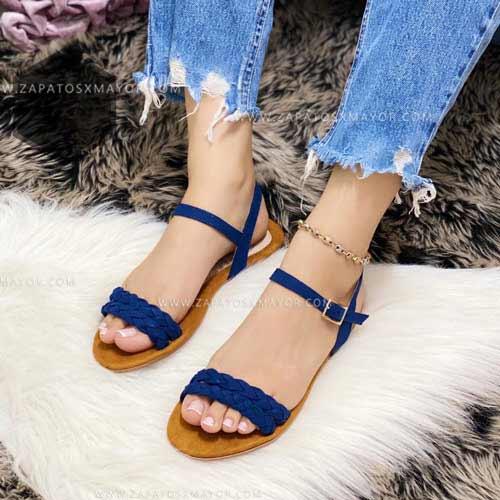 sandalias azules planas para mujer