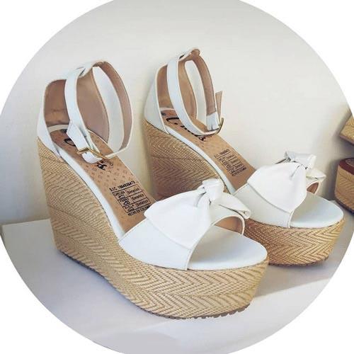 sandalias yute blancas mujer
