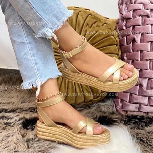 sandalias yute de moda doradas para dama