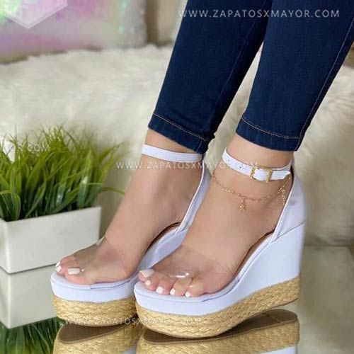 sandalias yute elegantes moda mujer blancas